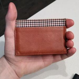 TAN/Chestnut Leather 'Delta' Slim Card Wallet